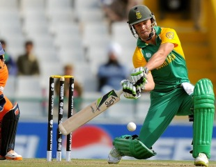 Ab de Villiers winds up to smash the ball, Netherlands v South Africa, World Cup 2011, Mohali, March 3, 2011