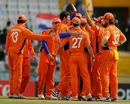 Bernard Loots is congratulated by his team-mates for getting rid of Graeme Smith, Netherlands v South Africa, Group B, World Cup 2011, Mohali, March 3, 2011
