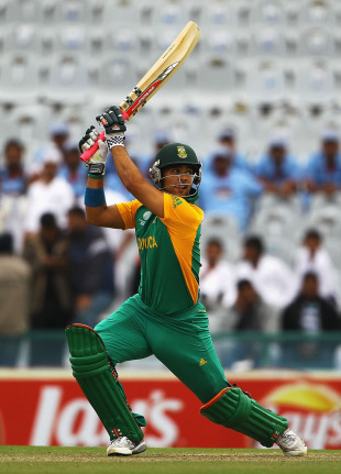 JP Duminy hits out during his 15-ball 40, Netherlands v South Africa, World Cup 2011, Mohali, March 3, 2011