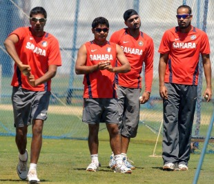 The Indian spin contingent: R Ashwin, Piyush Chawla, Harbhajan Singh and Yusuf Pathan, Bangalore, March 3, 2011