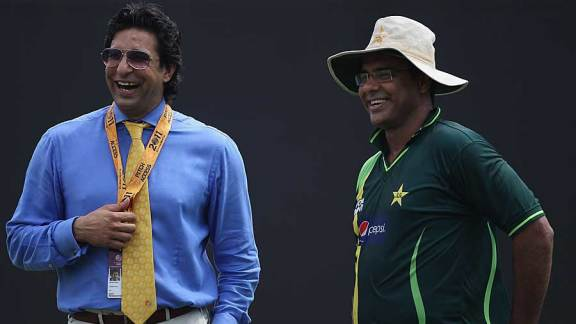 The two Ws, Wasim Akram and Waqar Younis, have a laugh