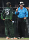 Umpire Daryl Harper warns Ahmed Shehzad not to talk too much to the batsman, Canada v Pakistan, Group A, World Cup 2011, Colombo, March 3, 2011
