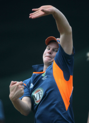Steven Smith bowls during Australia's training session, Colombo, March 4, 2011