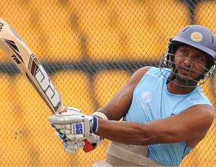 Kumar Sangakkara hits out during practice, Colombo, March 4, 2011