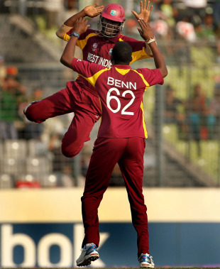 Darren Sammy was ecstatic after Sulieman Benn knocked over Rubel Hossain, Bangladesh v West Indies, Group B, World Cup 2011, Mirpur, March 4, 2011