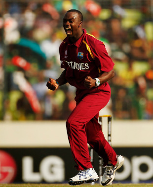 Kemar Roach roars after dismissing Mohammad Ashraful, Bangladesh v West Indies, Group B, World Cup 2011, Mirpur, March 4, 2011