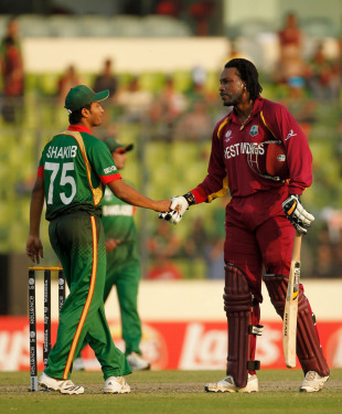 Chris Gayle shakes hands with Shakib Al Hasan after West Indies' crushing victory, Bangladesh v West Indies, Group B, World Cup 2011, Mirpur, March 4, 2011