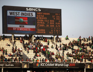The Mirpur crowd were not too pleased with Bangladesh's poor showing, Bangladesh v West Indies, Group B, World Cup 2011, Mirpur, March 4, 2011