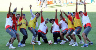 India players celebrate winning a warm-up football match during practice, Bangalore, March 4, 2011