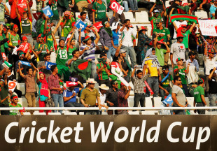 The Mirpur crowd threw their '4' and '6' placards at the Bangladesh team after they had been bowled out for 58, Bangladesh v West Indies, Group B, World Cup 2011, Mirpur, March 4, 2011
