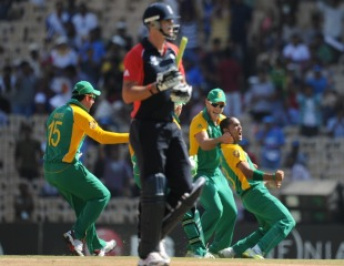 Kevin Pietersen was dismissed by left-arm spinner Robin Peterson, England v South Africa, Group B, World Cup, Chennai, March 6, 2011