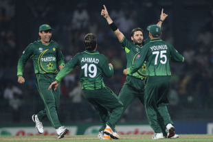 Shahid Afridi celebrates a wicket, Canada v Pakistan, Group A, World Cup 2011, Colombo, March 3, 2011