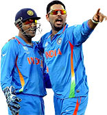 Yuvraj Singh celebrates his five-wicket haul with MS Dhoni