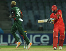 Elijah Otieno bowls Rizwan Cheema  for 17, Canada v Kenya, Group A, World Cup, Delhi, March 7, 2011