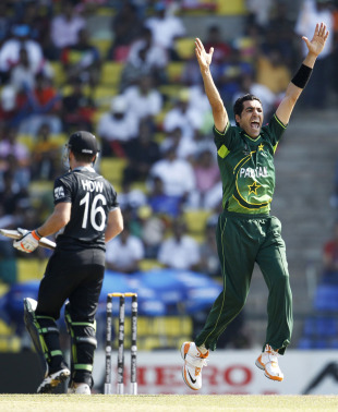 Umar Gul successfully appeals for the wicket of Jamie How, New Zealand v Pakistan, Group A, World Cup, Pallekele, March 8, 2011