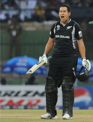 Ross Taylor is pumped after hard-hitting his way to a century, New Zealand v Pakistan, Group A, World Cup, Pallekele, March 8, 2011