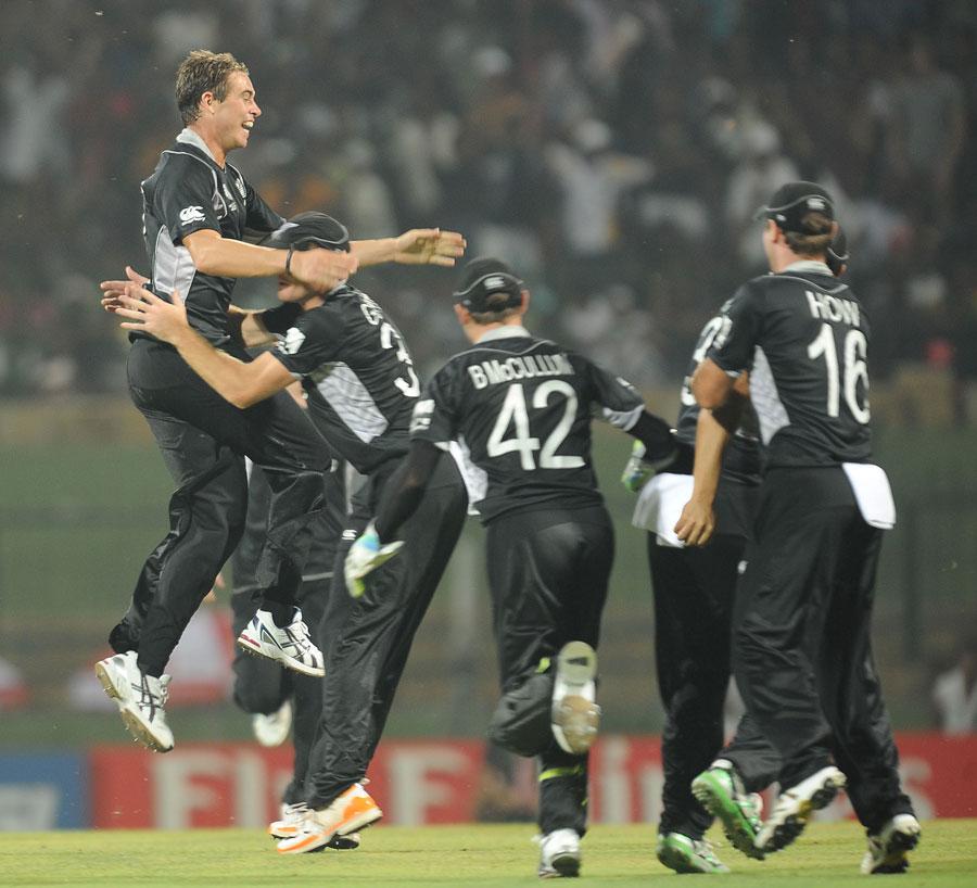 New Zealand were ecstatic after Tim Southee got Kamran Akmal