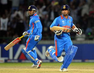 Sachin Tendulkar and Virender Sehwag put together 69 runs off 45 balls, India v Netherlands, Group B, World Cup, Delhi, March 9, 2011