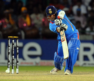 Sachin Tendulkar plays one to the off side, India v Netherlands, Group B, World Cup, Delhi, March 9, 2011