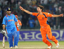 Pieter Seelaar celebrates the wicket of Sachin Tendulkar, India v Netherlands, Group B, World Cup, Delhi, March 9, 2011