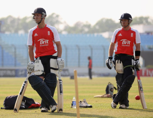 Jonathan Trott and Ian Bell await their turn in the nets, Chittagong, March 10, 2011