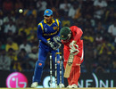 Regis Chakabva loses his off stump to a Muttiah Muralitharan doosra