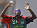Kenya's James Ngoche reacts after bowling in the nets, Bangalore, March 11, 2011