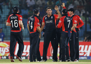 Tim Bresnan bowled Tamim Iqbal to get England back in the contest, Bangladesh v England, Group B, World Cup, Chittagong, March 11, 2011