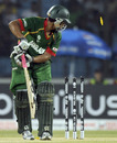Tamim Iqbal is bowled for 38