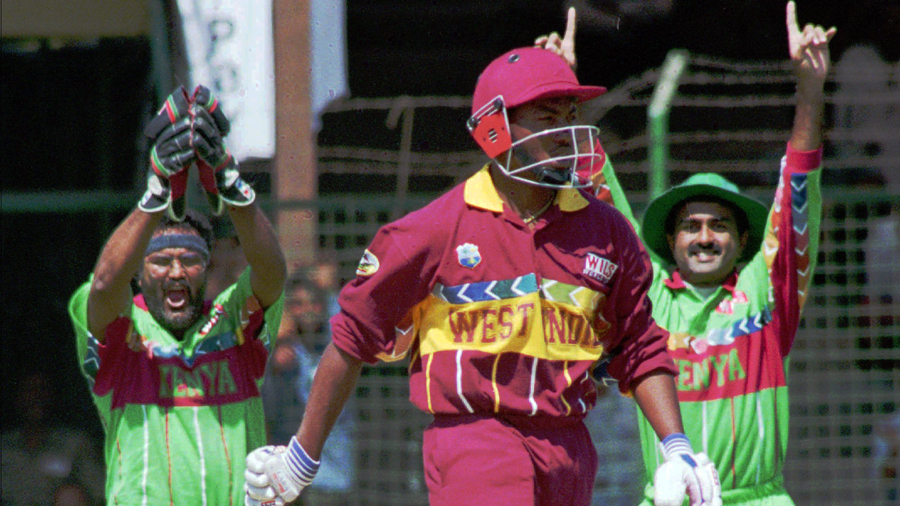 Wicketkeeper Tariq Iqbal and  Aasif Karim celebrate as Brian Lara is caught behind