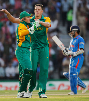 Morne Morkel had Sachin Tendulkar caught at point, India v South Africa, Group B, World Cup, Nagpur, March 12, 2011