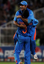Suresh Raina is congratulated on catching Johan Botha, India v South Africa, Group B, World Cup, Nagpur, March 12, 2011