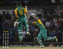 Faf du Plessis and Robin Peterson celebrate South Africa's win, India v South Africa, Group B, World Cup, Nagpur, March 12, 2011