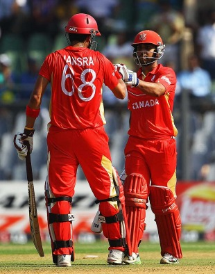 Ashish Bagai and Jimmy Hansra were involved in a century stand for the fourth wicket, Canada v New Zealand, World Cup 2011, Group A, Mumbai, March 13 2011
