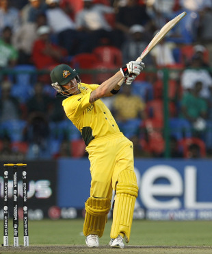 Michael Clarke swings one the the on-side boundary, Australia v Kenya, World Cup 2011, Group A, Bangalore, March 13, 2011