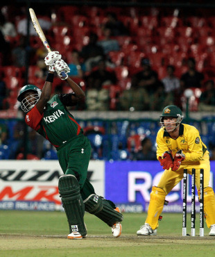 Collins Obuya attempts a big shot, Australia v Kenya, World Cup 2011, Group A, Bangalore, March 13, 2011