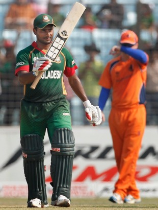 Imrul Kayes reaches 50, Bangladesh v Netherlands, Group B, World Cup 2011, Chittagong, March 14, 2011