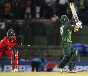 Ahmed Shehzad is stumped, Pakistan v Zimbabwe, World Cup, Pallekele, March 14, 2011