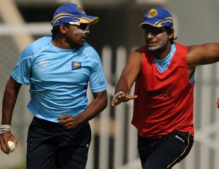 Kumar Sangakkara in pursuit of Mahela Jayawardene, World Cup, Mumbai, March 15, 2011