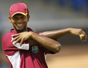 Shivnarine Chanderpaul stretches during West Indies' practice session, Chennai, March 16, 2011