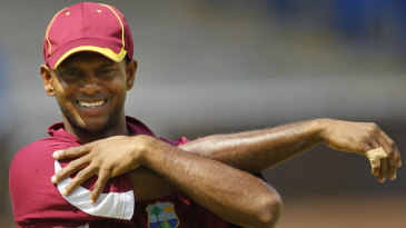 Shivnarine Chanderpaul stretches during West Indies' practice session