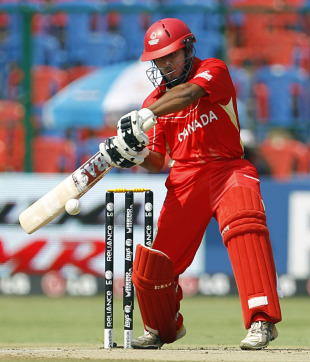 Hiral Patel winds up to lift the ball for a boundary, Australia v Canada, Group A, World Cup, Bangalore, March 16, 2011
