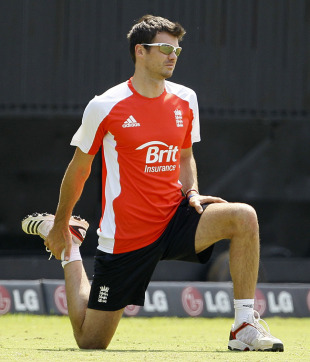 James Anderson does some stretching during practice, Chennai, March 16, 2011