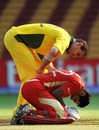 Shaun Tait checks on Zubin Surkari after he was hit by a short ball, Australia v Canada, Group A, World Cup, Bangalore, March 16, 2011