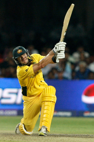 Shane Watson plays the slog-sweep, Australia v Canada, Group A, World Cup, Bangalore, March 16, 2011