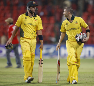Cameron White and Michael Clarke walk off after Australia'a win, Australia v Canada, Group A, World Cup, Bangalore, March 16, 2011
