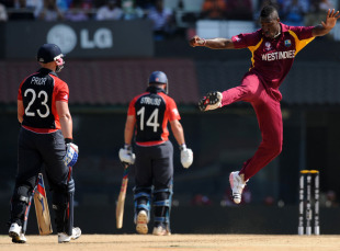 Andre Russell leaps in delight after bowling Matt Prior for 21, England v West Indies, World Cup, Group B, March 17, 2011