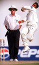 Shoaib Akhtar runs in during the course of his ten-wicket match haul, Pakistan v West Indies, 1st Test, Day 5, Sharjah, February 4, 2002