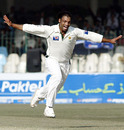 Shoaib Akhtar celebrates his dismissal of Geraint Jones