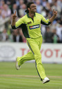 Shoaib Akhtar celebrates his 200th ODI wicket, England v Pakistan, 1st ODI, Cardiff, August 30, 2006